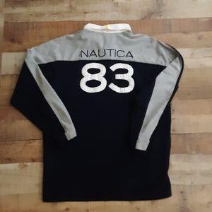 Vtg Nautica Rugby Shirt #83 Spellout sz XXL 2XL